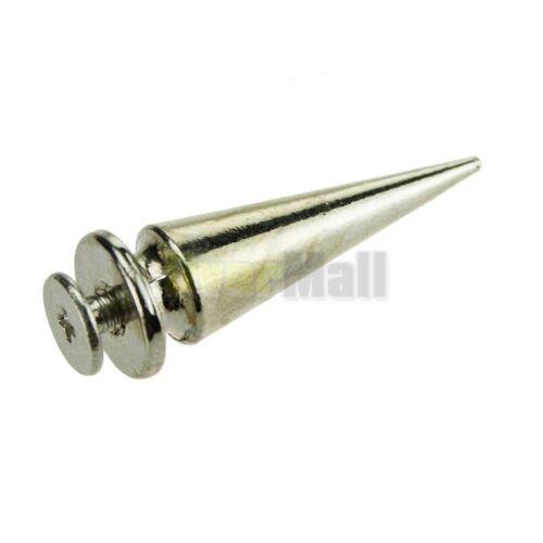 50Pcs 26mm Silver Spots Cone Screw Metal Studs Leathercraft Rivet Bullet Spikes