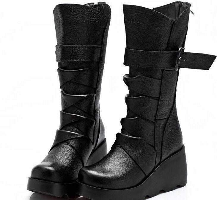 Elegante señoras Negro Hebilla De Punta Punta Punta rojoonda botas Mitad de Pantorrilla Zapatos de Tacos Cuña de plataforma  Ahorre 35% - 70% de descuento