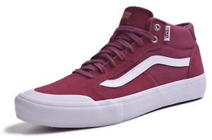 ecf3cc5f6844 Vans Style 112 Mid Pro Men s Burgundy Canvas Suede Skateboard Shoes ...