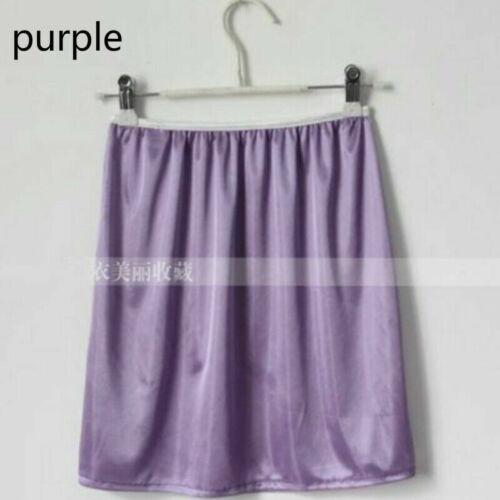 Damen Satinrock Unterrock Petticoat Kunstseide Rutsch Unederwear Shorts Weich