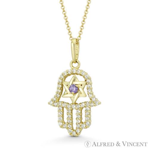 Hamsa Hand Star of David Jewish Faux Amethyst CZ Crystal 14k Yellow Gold Pendant