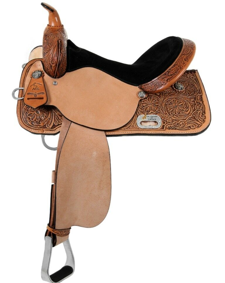 """High Horse by Circle Y 14"""" Mansfield Barrel Saddle Wide  Tree Tooled 6221-2406-05  online discount"""