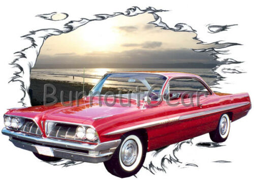 1961 Red Pontiac Catalina Custom Hot Rod Sun Set T-Shirt 61 Muscle Car Tees