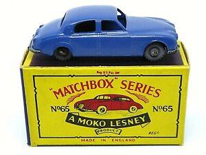 Matchbox-Lesney-No-65a-Jaguar-Saloon-de-3-4-litros-en-Caja-039-B4-039-Serie-Moko