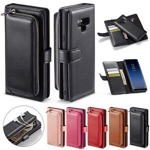 Removable-Leather-Wallet-Zipper-Case-Cover-For-Samsung-Galaxy-S10-E-S9-S8-Note9