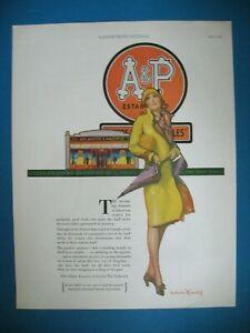 PUBLICITE-A-amp-P-STORES-PICTURE-BRADSHAW-CRANDELL-ORIGINAL-VINTAGE-PRINT-AD-1920-039-s