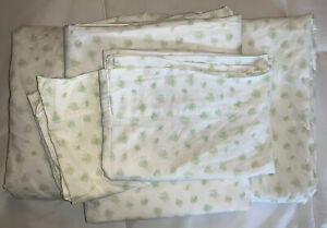 Pottery Barn Kids Green Rose Floral Twin Sheet Set 2 Flat