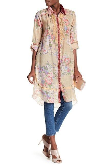 ARATTA Christy Turlington Tunic Shirt Faded Sand Floral Größe S  M.FrotRIC