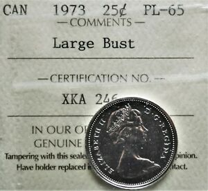 1973-LB-Canada-25-cents-ICCS-graded-PL-65