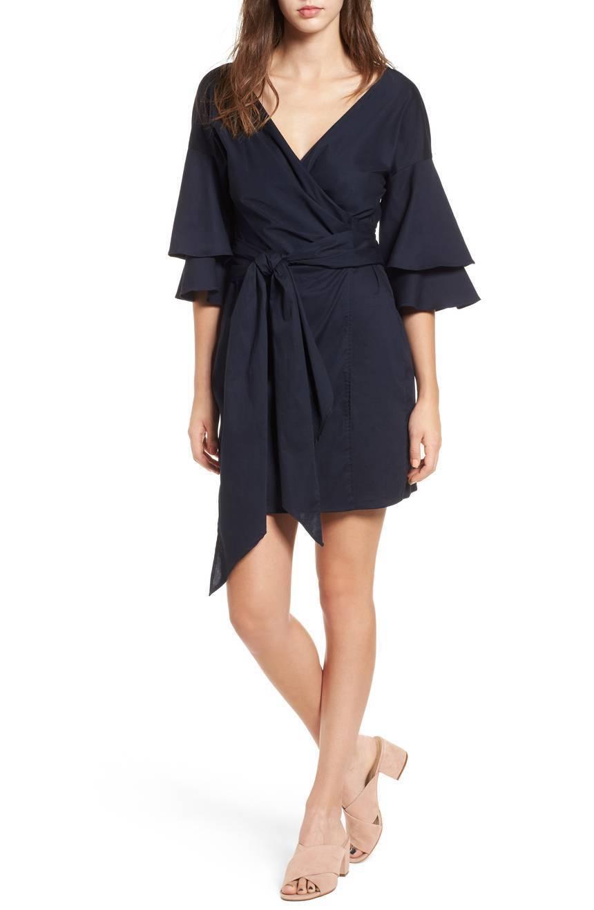 WAYF Portrait Wrap Dress Navy Dress Sz S