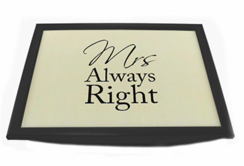 Mr Right /& Mrs Always Right Bean Bag Base Padded Bed Serving Lap Tray Xmas Gift