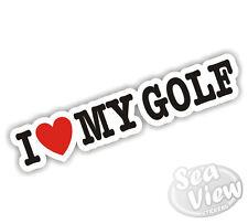 I Heart Love My Golf Mk1 Mk2 Mk3 Mk4 Bug Dub VW Volkswagen Car Van Sticker Decal