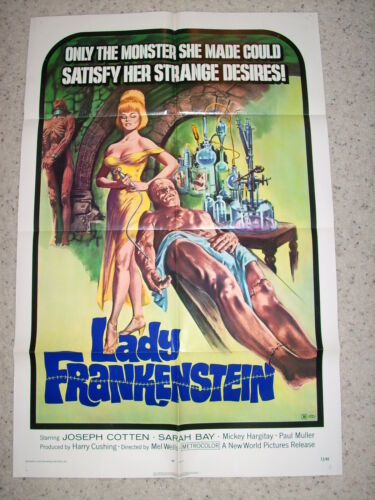 """LADY FRANKENSTEIN"" 72,1SH ORIG Poster, SARAH BAY, J. COTTON, MICKEY HARGITAY"