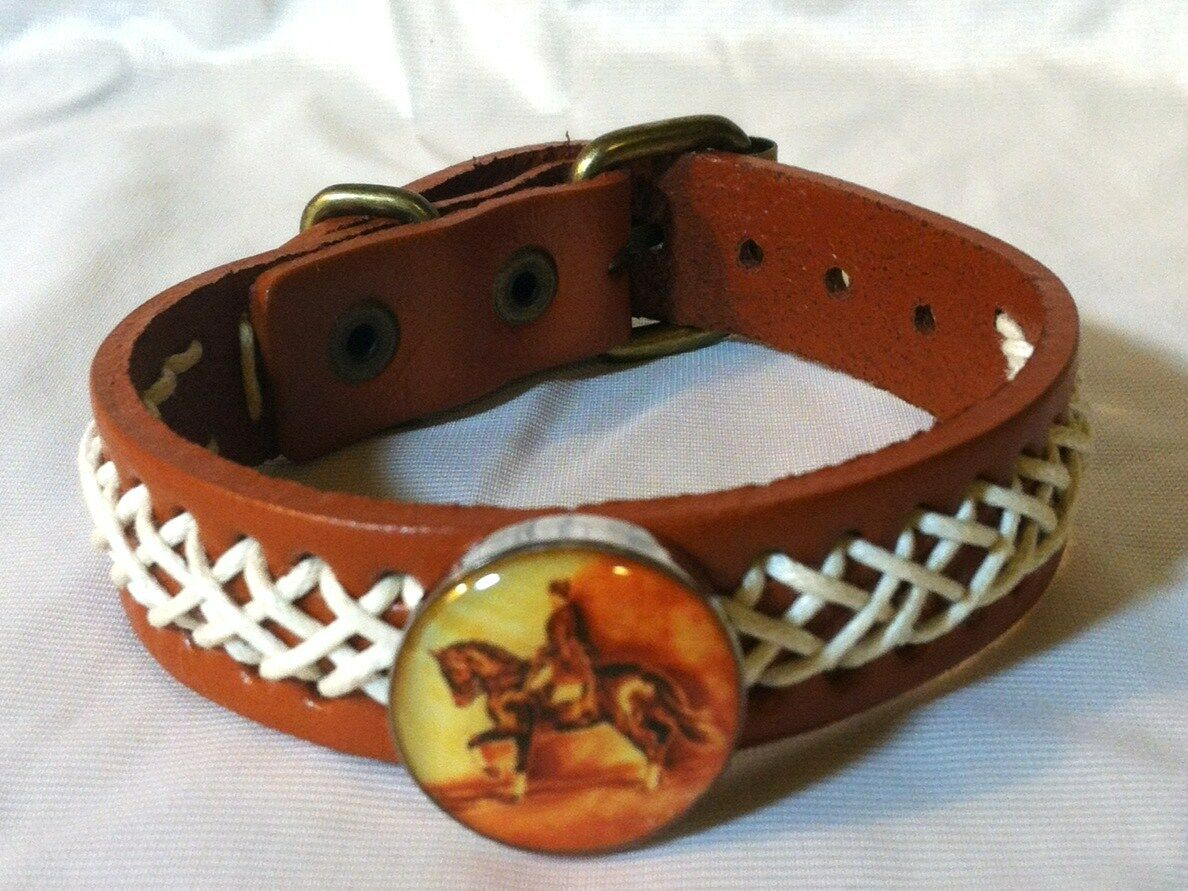 HORSE SNAP & LEATHER twine stitch BRACELET 18-20MM DRESSAGE PASSAGE    BUBBLES    with 60% off discount