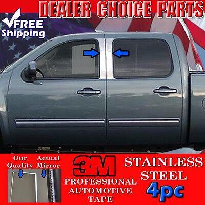 2007-2013 Silverado Sierra Crew Cab 4pc STAINLESS STEEL Pillar Posts Overlays