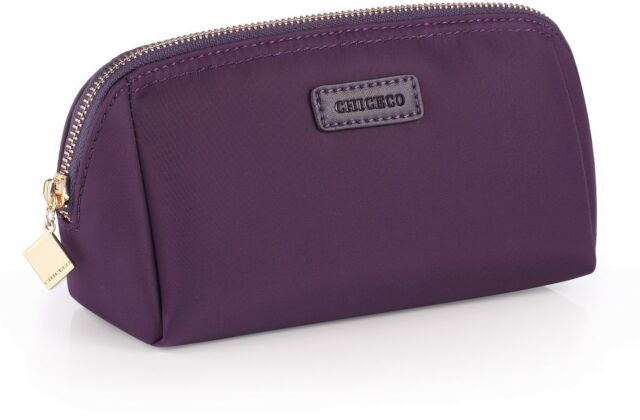 Chiceco Handy Cosmetic Pouch Clutch Makeup Bag Smooth Waterproof Dark Purple New
