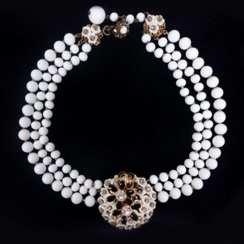 Vintage Rare Miriam Haskell Baroque Pearl 3 Strand Black White Choker Necklace