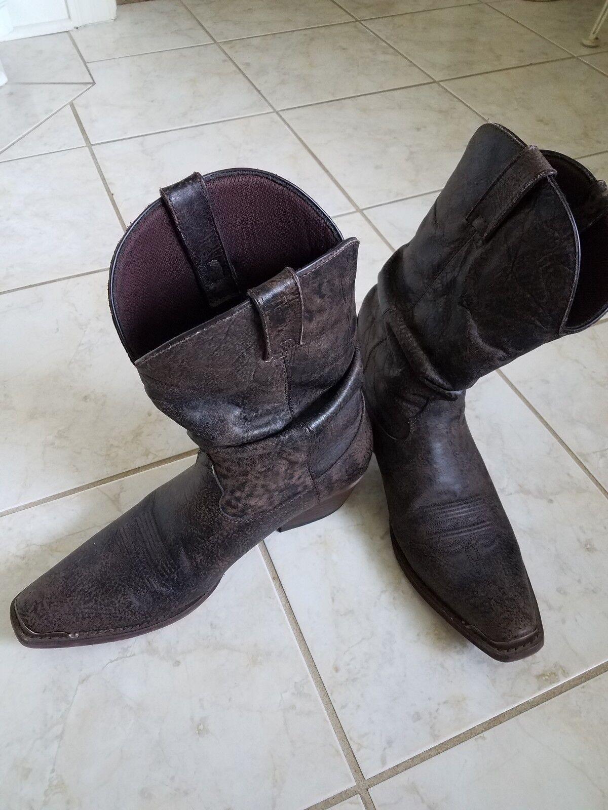 men's brown leather slouch cowboy boots Durango 11D EUC