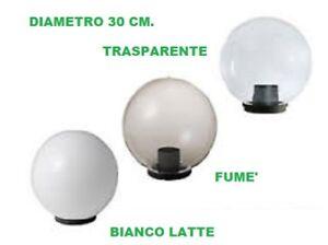 Sfere palle globo per lampioni bianco latte trasparente for Lampioni giardino disano