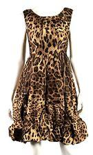 DOLCE & GABBANA Brown Leopard Print Ruffle Hem Sleeveless Cocktail Dress 40