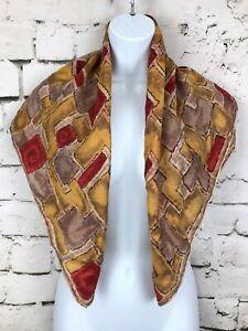Silk-Scarf-Brick-Design-Tetric-Block-Design-Brick-Brown-Yellow-Red-31x31-034