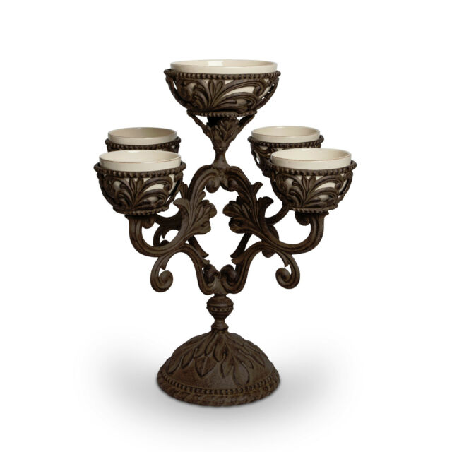 The GG Collection Acanthus Leaf Cream Ceramic & Metal Epergne Centerpiece Bowls