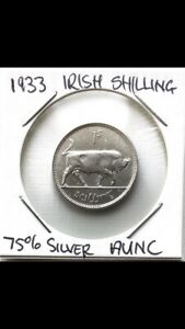Ireland-Silver-Shilling-1933-AUNC-Rare-To-Find-In-This-Condition