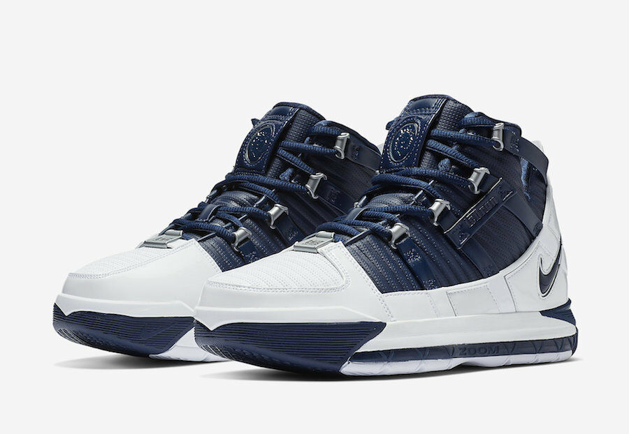 AO2434-103 NIKE ZOOM LEBRON III QS White Midnight Navy Men's Sneakers SHIPS NOW