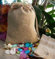 Natural Burlap Jute Gift Bags With Drawstrings, 12-pack