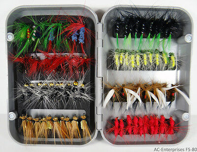 80 Pcs// set Fly Fishing Flies Lure Hook with Box Tackle Accessory
