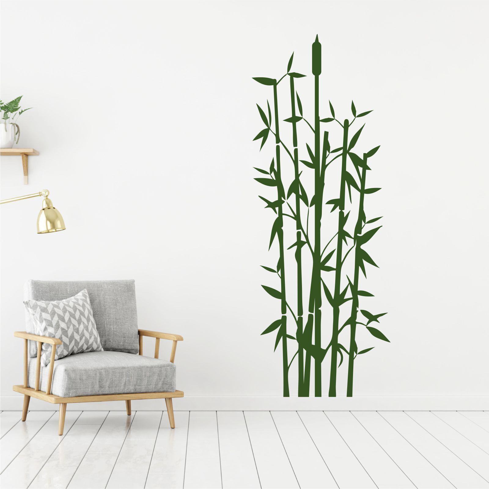 wandtattoo wandsticker wandaufkleber flur badezimmer bambus gras wt024 ebay. Black Bedroom Furniture Sets. Home Design Ideas
