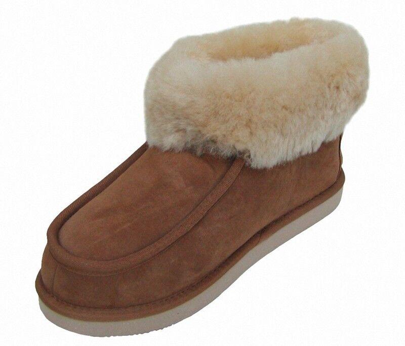Chamier warme Damen Lammfell Haus Schuhe Paula camel mit Fellkragen nur Lammfell