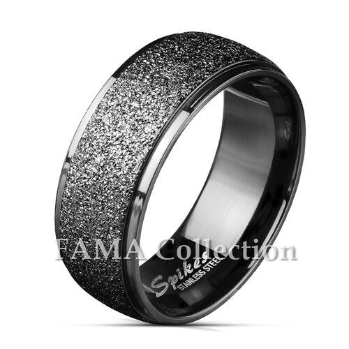FAMA Stainless Steel Sand Blast Center Step Edges Black IP Ring Band Size 9-13