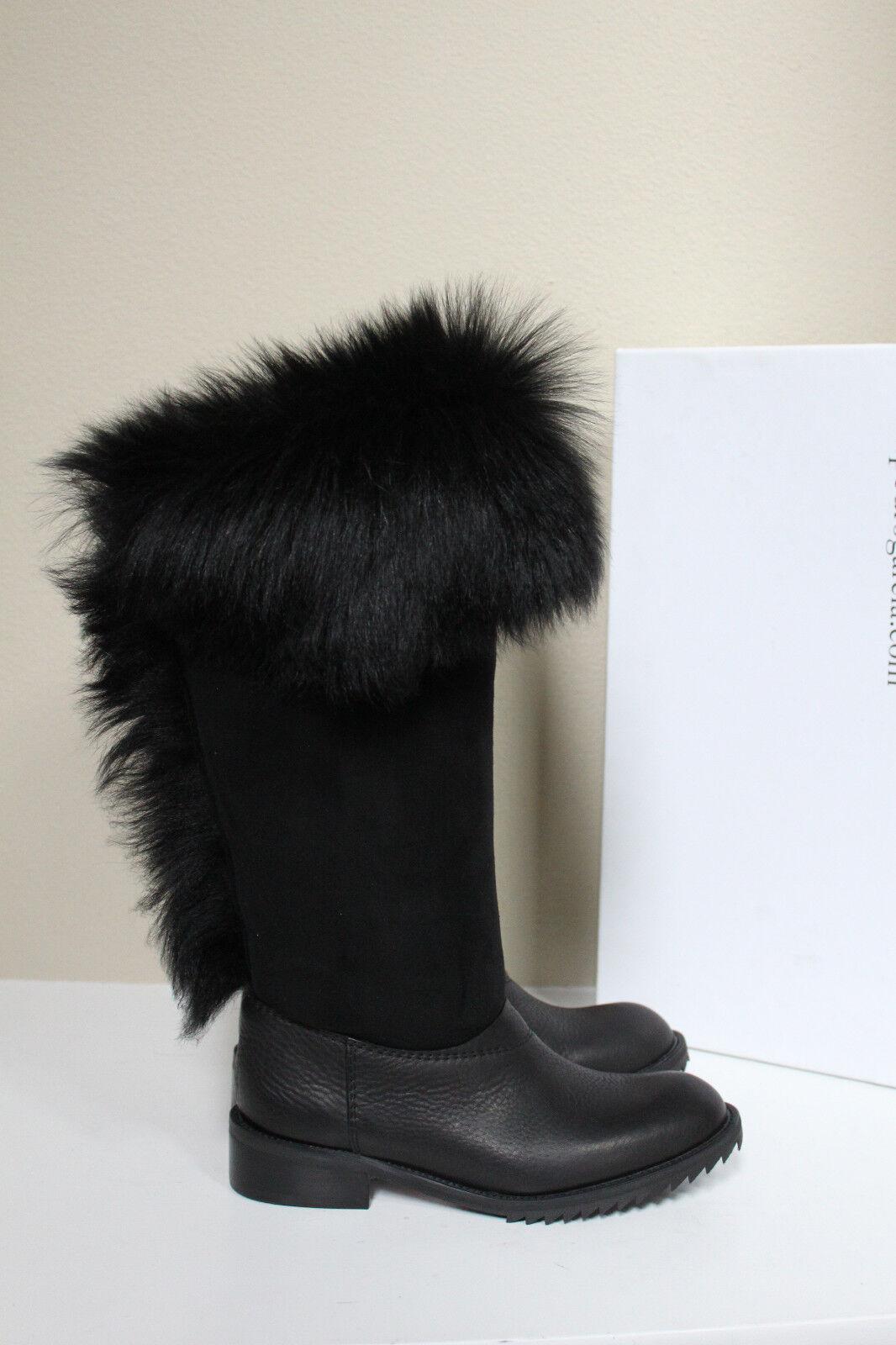 sz 6 / 36 Pedro Garcia Black Odette Genuine Shearling & Leather Boot Shoes