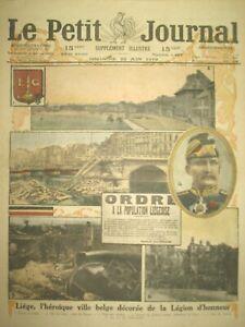 BELGIQUE-LIEGE-VILLE-HEROIQUUE-DeCOReE-LEGION-D-039-HONNEUR-LE-PETIT-JOURNAL-1919