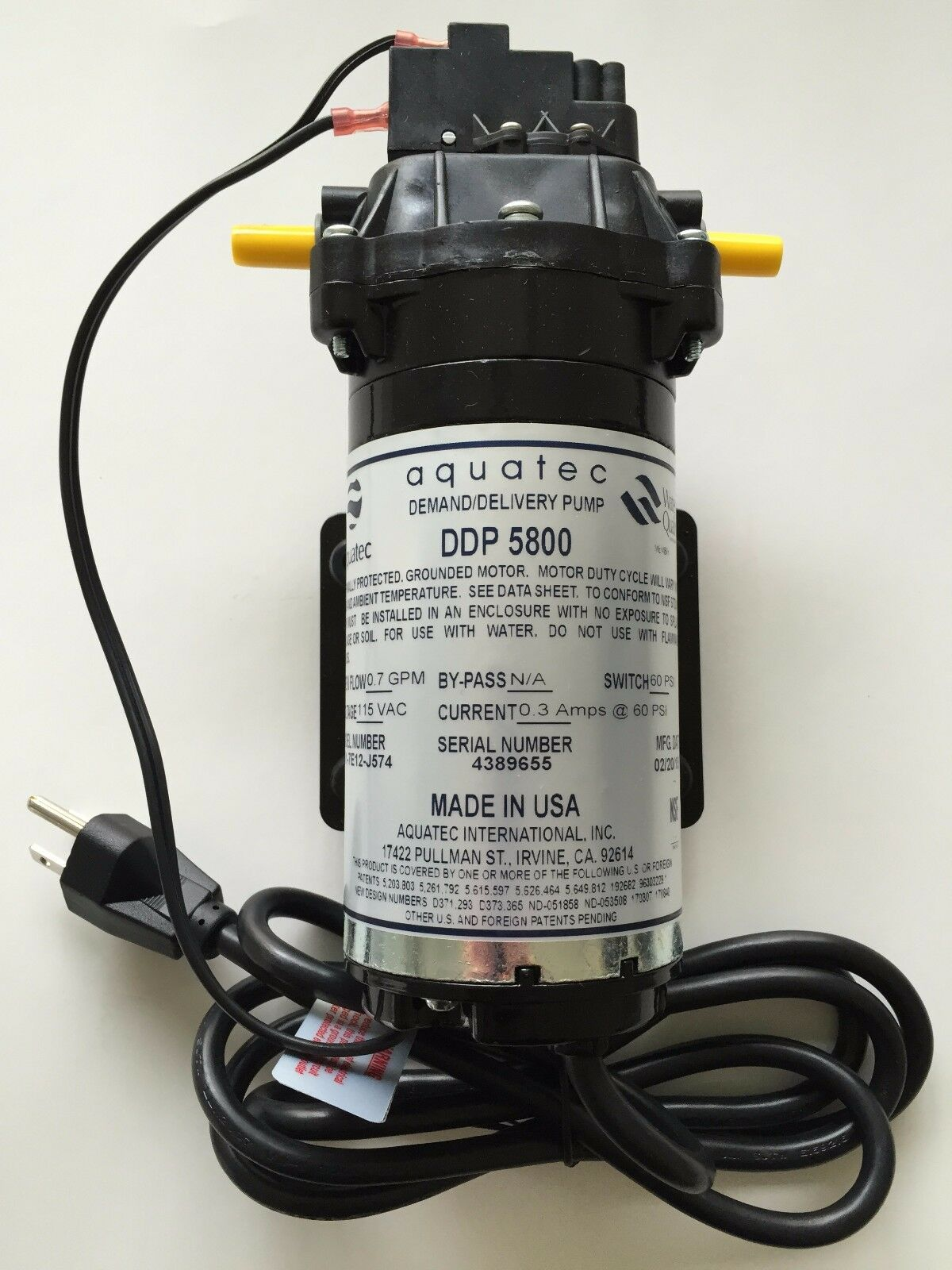 AQUATEC DDP 5851 SERIES Osmose Inverse pompe distributrice 230VAC 5851-7E12-B718 Aucun Cordon
