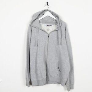 Vintage-FILA-Small-Front-Logo-Zip-Up-Hoodie-Sweatshirt-Grey-Medium-M
