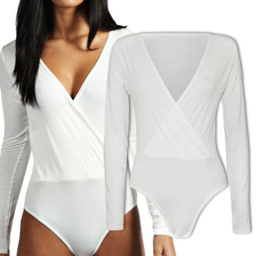 Womens Ladies Long Sleeve Wrap Over V Neck Plunge Bodysuit Leotard Plain Stretch