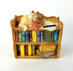 "Peter Fagan Cat Figurine Library Cat on Bookshelf Handmade Painted 2.5"""