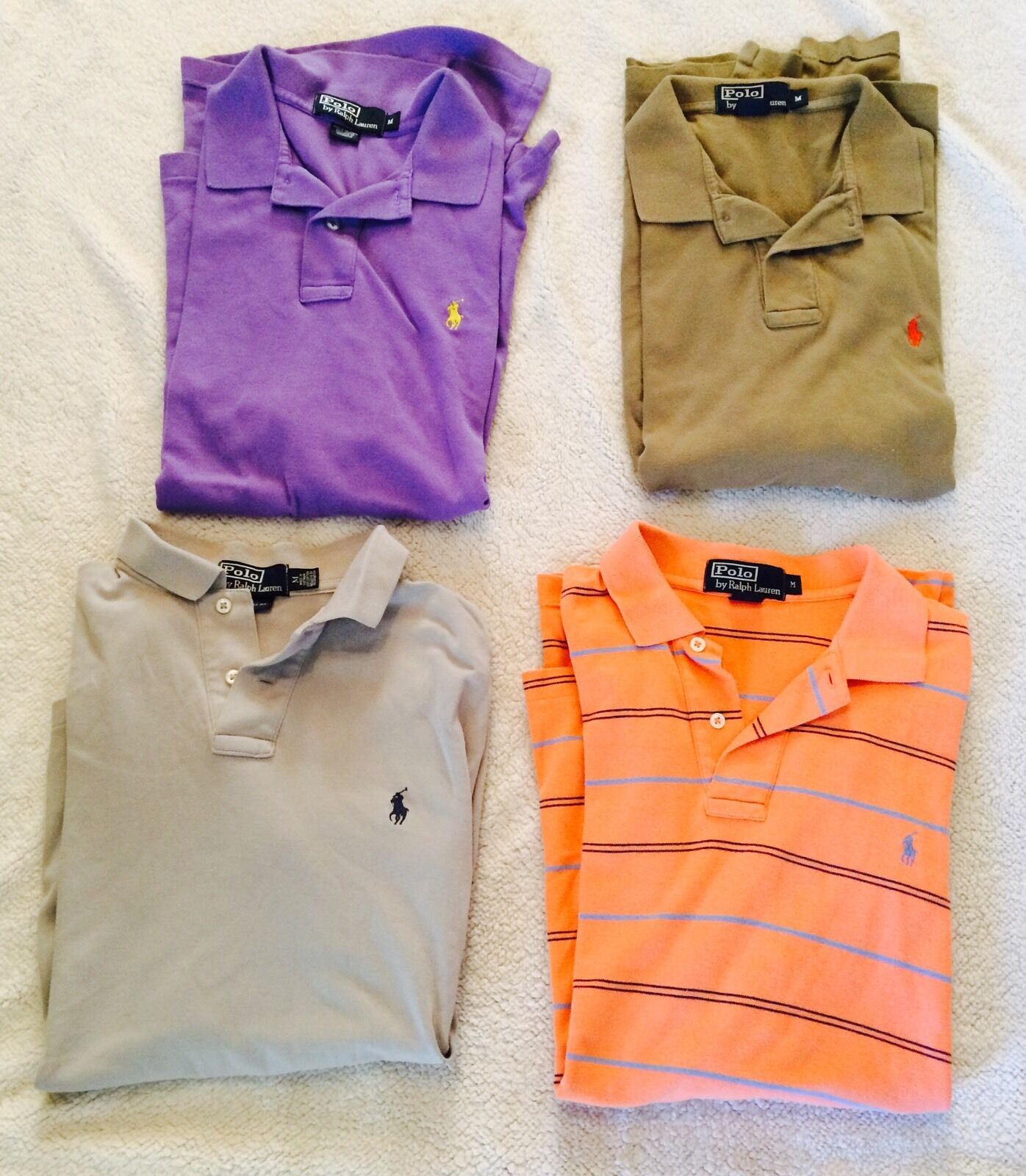 Polo RALPH LAUREN Men's LOT OF FOUR 4 Polo Rugby Shirts Size M Nice