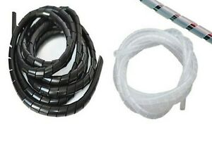 Black-amp-Clear-Spiral-Wrap-Cable-Tidy-Wires-Leads-Binding-Hide-PC-TV-CCTV-DVD