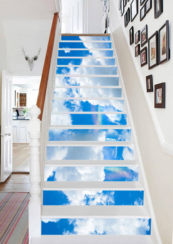 3D Bule Sky Clouds Stair Risers Decoration Photo Mural Vinyl Decal Wallpaper AU