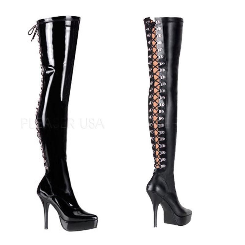 Indulge-3063 Devious High Heels Overkneestiefel schwarz Schnürung hinten 36-47