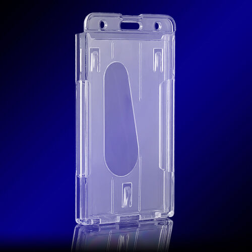 2x Vertical Hard Plastic ID Badge Holder Double Card Multi Transparent Clear  UK