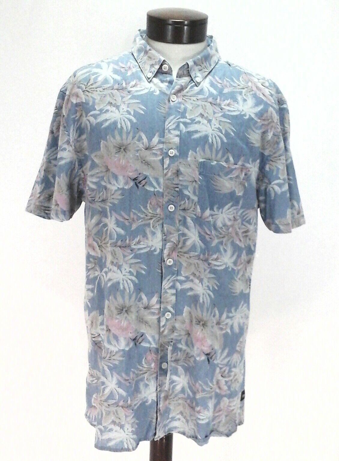 BARNEY COOLS Shirt HAWAIIAN Aloha bluee Pink Slim Fit Floral Mens XL fits M