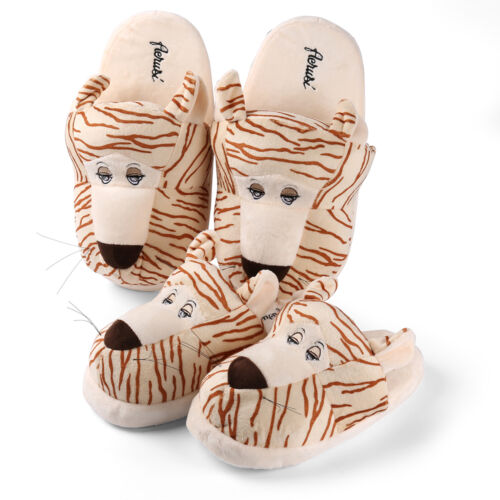 Kids/&Adult Animal Tiger Home Plush Bedroom Slipper Indoor Anti-Slip Warm Shoes