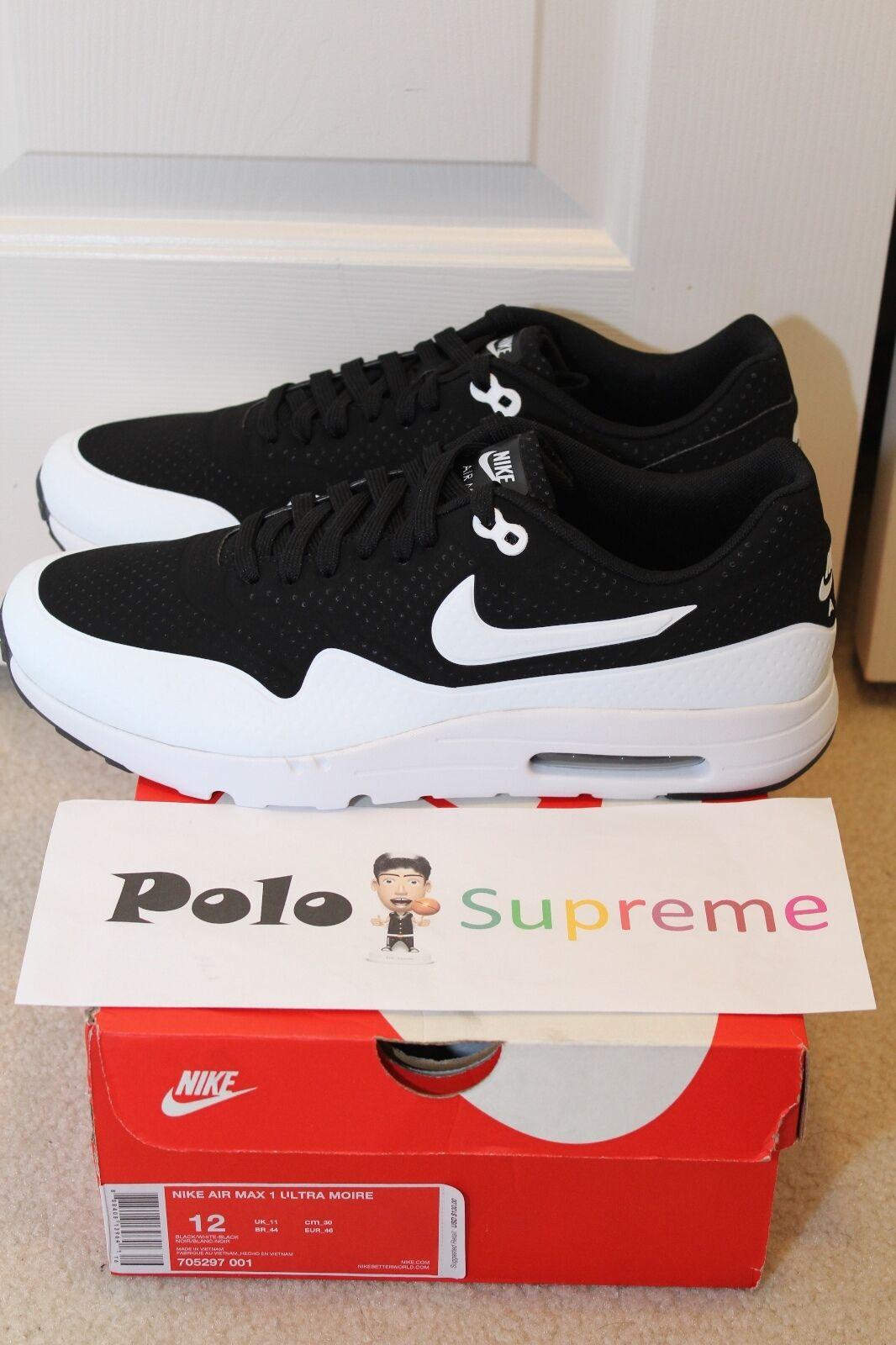 Nike air max 1 ultra bianco nero moiré 705297-001 panda oreo paura misura 9 - 12