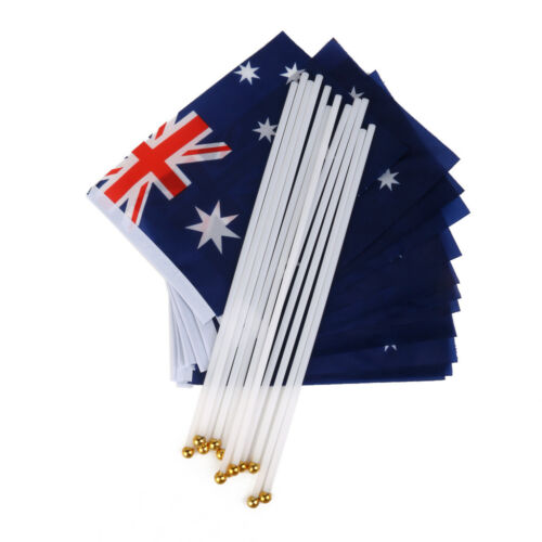 Pack of 12pcs Australia Australian Small HAND WAVING FLAGS with Stick Poles