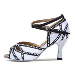 9c393bb7775bdc Women s Satin Rhinestones Latin Dance Shoes Sandal Salsa Ballroom ...