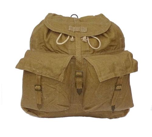 1950//80s Vintage Army Backpack Khaki Olive Canvas Rucksack Harness Hiking Retro